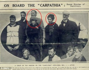 Left-Duff Gordons - Right-Laura Francatelli after rescue aboard Carpathia